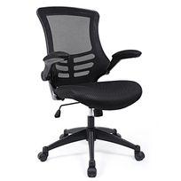 rocambolesk superbe fauteuil de bureau reglable tissu noir neuf
