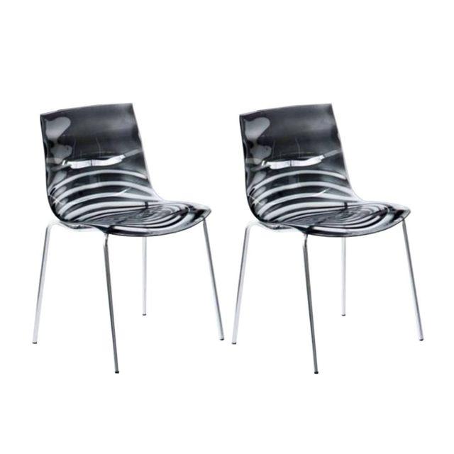 inside 75 lot de 2 chaises design l eau grise