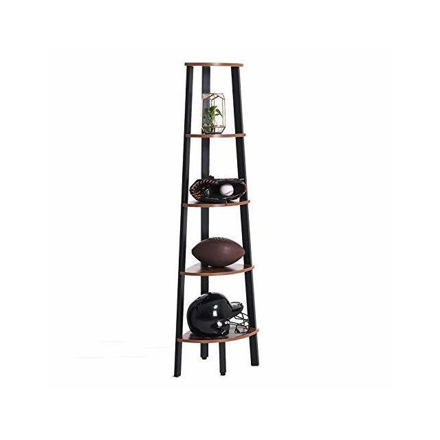 etagere d angle vintage etagere d echelle a 5 niveaux rangement avec cadre metallique pour salon maison bureau noire lls35x