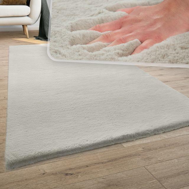 tapis poils longs shaggy pour salon moelleux doux lavable beige