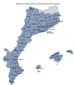 Mapa de les 49 demarcacions de TDT local que donen cobertura als  Països Catalans