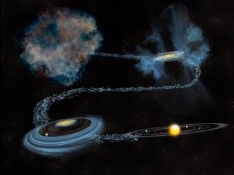 Il viaggio attraverso il tempo del ghiaccio d'acqua, a partire dalla nube molecolare (in alto a sinistra), precedente alla formazione del Sole, giù attraverso tutte le fasi formazione stellare, fino a diventare parte d'un sistema planetario. Crediti: Bill Saxton, NSF / AUI / NRAO