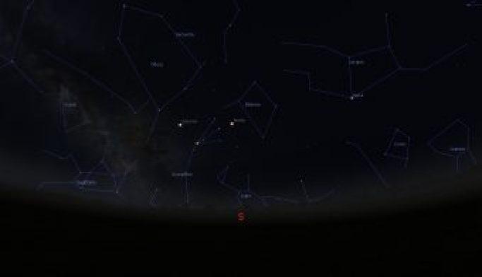 Simulazione del cielo serale del 30 maggio, alle ore 24, per latitudini dell'Italia centrale. crediti: M. Galliani/Stellarium