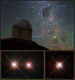 """La posizione di Proxima Centauri (la """"casa"""" di Proxima b) nei cieli australi. In primo piano, il telescopio da 3.6 metri dell'ESO, dov'è installato HARPS, lo strumento che ha scoperto il pianeta. Crediti: Y. Beletsky (LCO)/ESO/ESA/NASA/M. Zamani"""