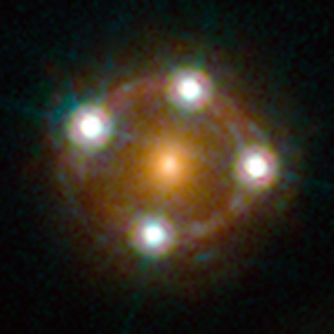 Il lensed quasar HE0435-1223. Crediti: ESA/Hubble, NASA, Suyu et al.