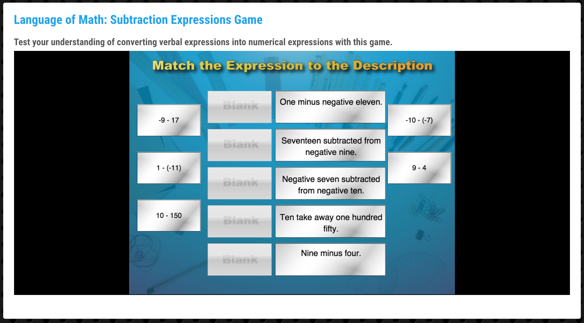 The Language Of Math Subtraction Expressions