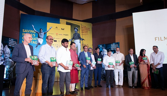 David Walsh (International Federation of Film Archives), Shri Suresh Babu, Shri Chiranjeevi, Shri T. Subbarami Reddy, Shri Shyam Benegal, Shivendra Singh Dungarpur, Founder & Director of Film Heritage Foundation, Shri S.S. Rajamouli, Shri Akkineni Nagarjuna, Shri Allu Arvind, Shri Raghavendra Rao, Shri Ramesh Prasad, Smt Amala Akkineni and Shri Shobu Yarlagadda at the opening ceremony of 5th Film Preservation and Restoration Workshop India (FPRWI) 2019 in Hyderabad