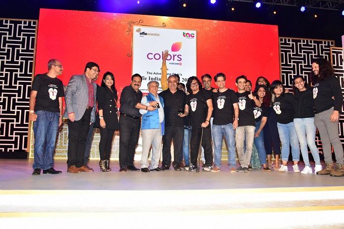 82.5 Communication winning the award for The Grand Effie in the presence of Ramesh Chauhan_ Chairman , Bisleri International Pvt Ltd & Piyush Pandey