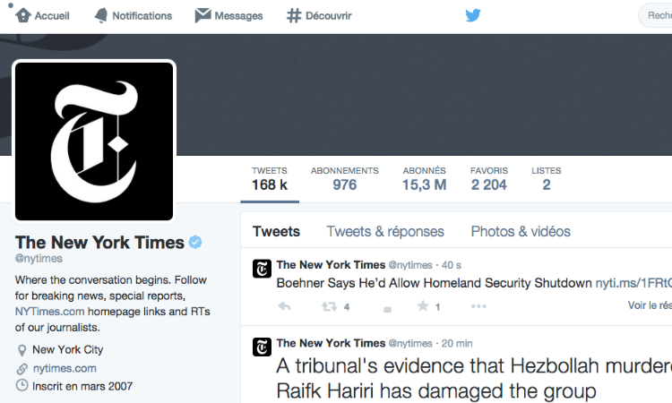 Les conseils Twitter du NYT ©NYTimes