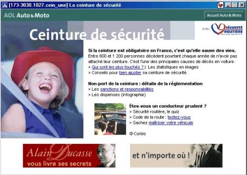 Page accueil aire AOL sponsorisée 2002