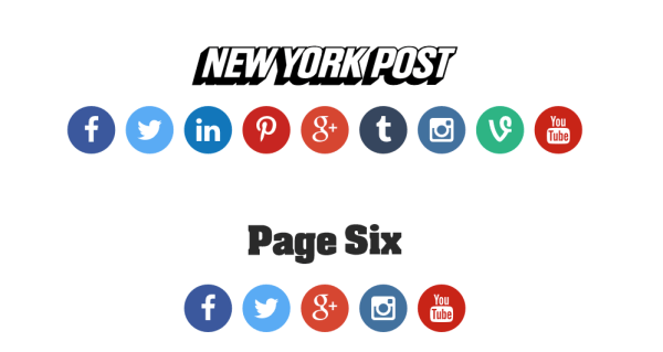nypost.social centralizes the social media buttons for the New York Post and Page Six brands.