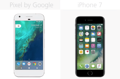 At first glance, it's hard to see any differences between Google's Pixel smartphone and Apple's iPhone 7.