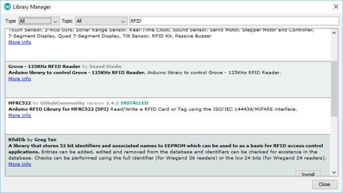 Trình quản lý thư viện của arduino ide