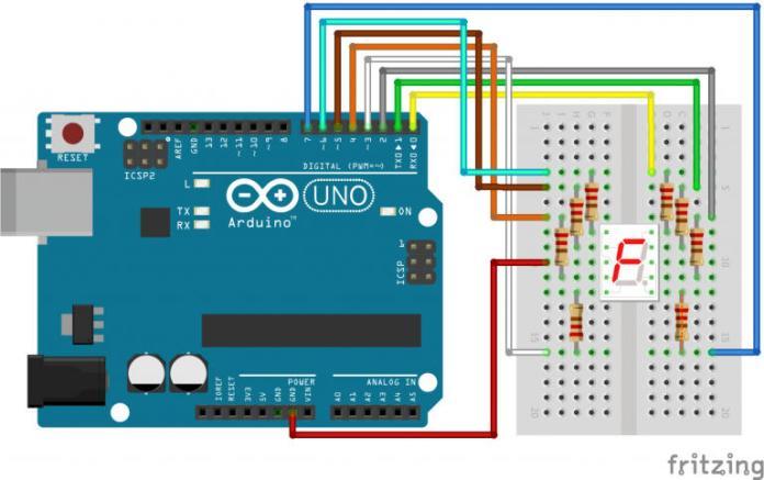 Sơ đồ mạch giao tiếp led 7 đoạn với arduino