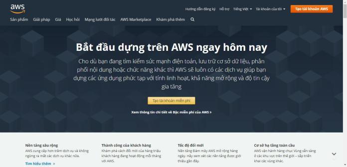 Giao diện website aws