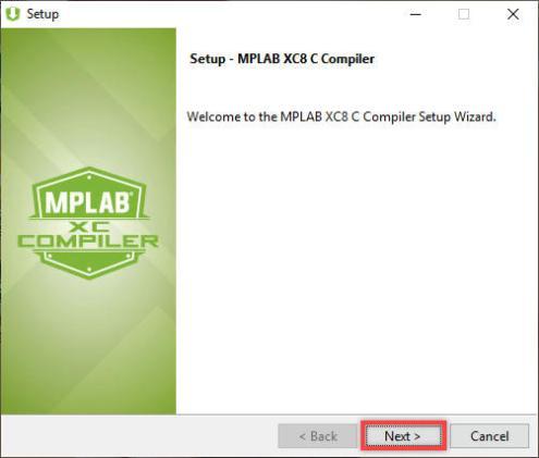Giao diện cài đặt MPLAB XC8 C Compiler