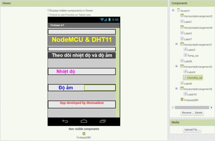 Giao diện thiết kế app theo dõi nhiệt độ và độ ẩm