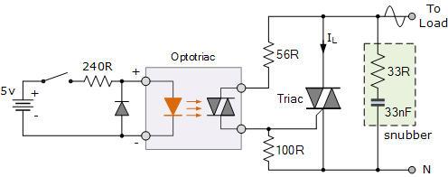Mạch ứng dụng dùng optotriac