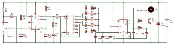 Mạch điều khiển động cơ DC bằng hồng ngoại