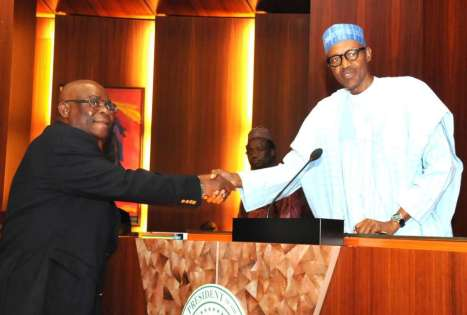 Buhari in closed door meeting with CJN, Onnoghen