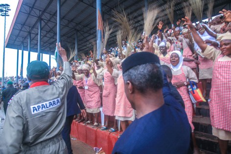 VP Osinbajo in Osogbo City Stadium to Inaugurate the 4th Batch OYES Parade held in Osogbo, Osun State.