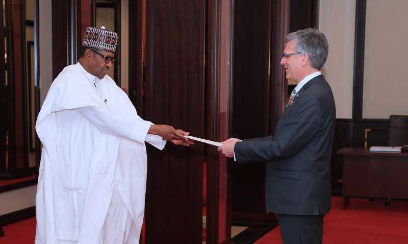 PRESIDENT BUHARI RECEIVES AMB OF ARGENTINA, HC OF CANADA AND UNITED KINGDOM TO NIGERIA AT THE STATE HOUSE, ABUJA