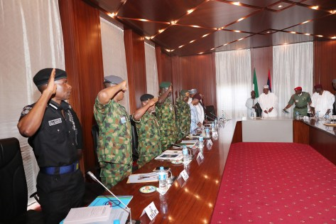 PRESIDENT BUHARI PRESIDES SECURITY MEETING President Muhammadu Buhari Presides Security meeting at the State Abuja. PHOTO; SUNDAY AGHAEZE. FEB 19 2019