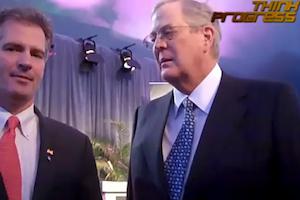 Senator Scott Brown asks David Koch for money. Picture taken by Brad Johnson of ThinkProgress.