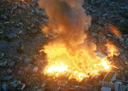 Fires in Japan after tsunami -- not a nuclear power station