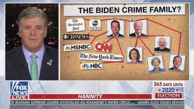 Sean Hannity Attacks Joe Biden With 'Crime Family' Graphic