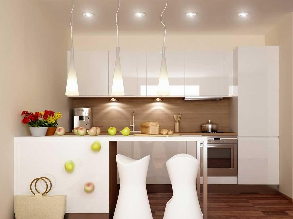 Dapur Minimalis dengan Lampu Gantung