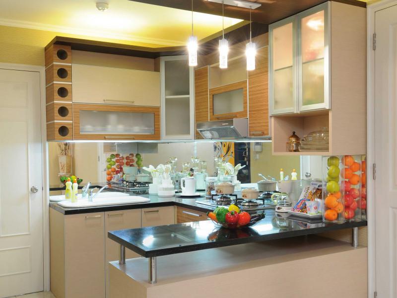 desain dapur minimalis pencahayaan