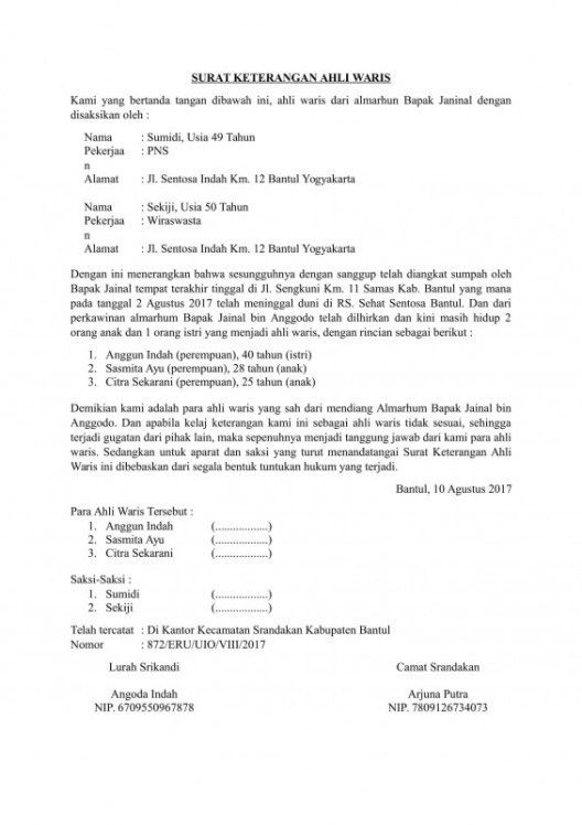 Contoh Surat Kuasa Ahli Waris Bank Suratmenyuratnet
