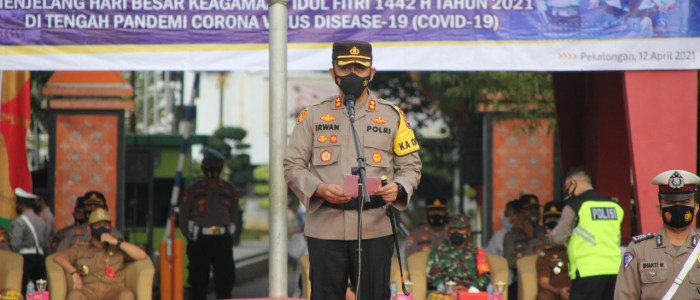Polres Pekalongan Kota Melaksanakan Gelar Pasukan Operasi Keselamatan Lalu Lintas Candi 2021.