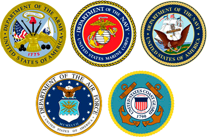 The US Armed Forces consist of the Army, Marine Corps, Navy, Air Force, and The Coast Guard