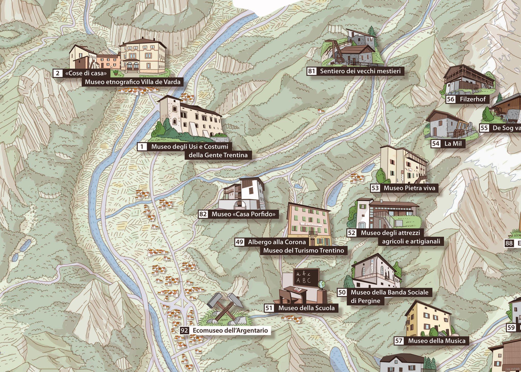 Cartina Trentino.Mappa Del Trentino Illustrata Mediaomnia