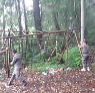 Satpol PP Kabupaten Bangli membongkar lapak pedagang canang yang berada di area hutan Suter, Desa Kintamani
