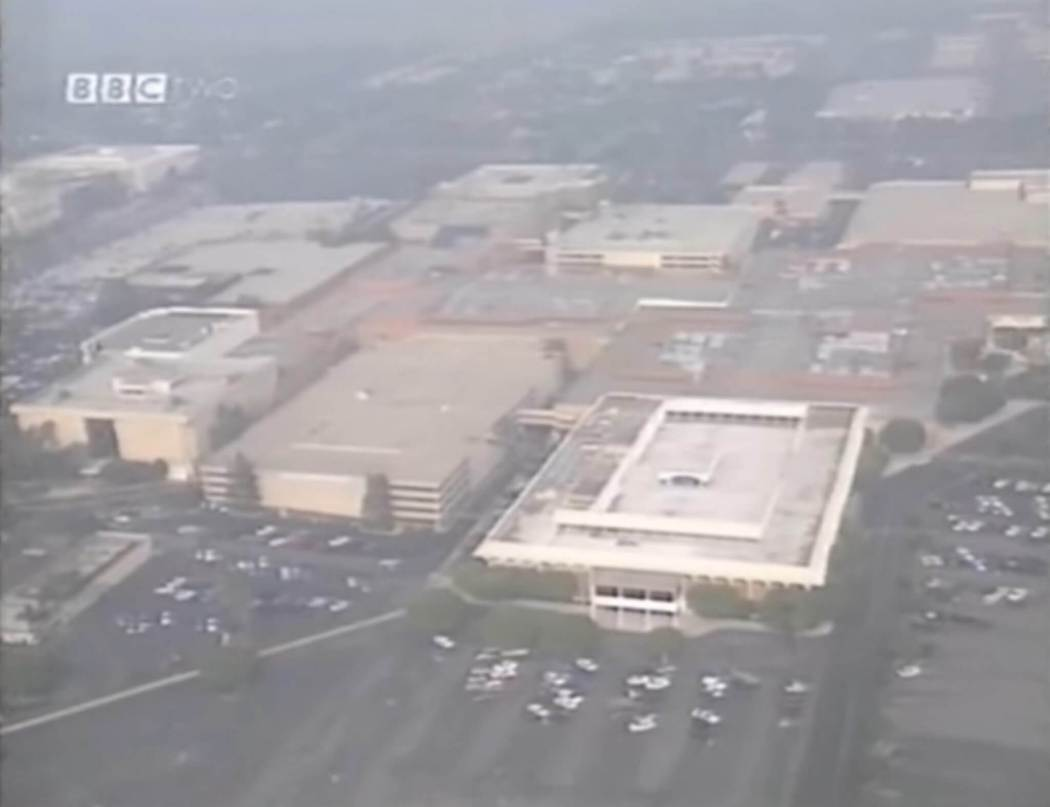 South Coast Plaza mall aerial shot