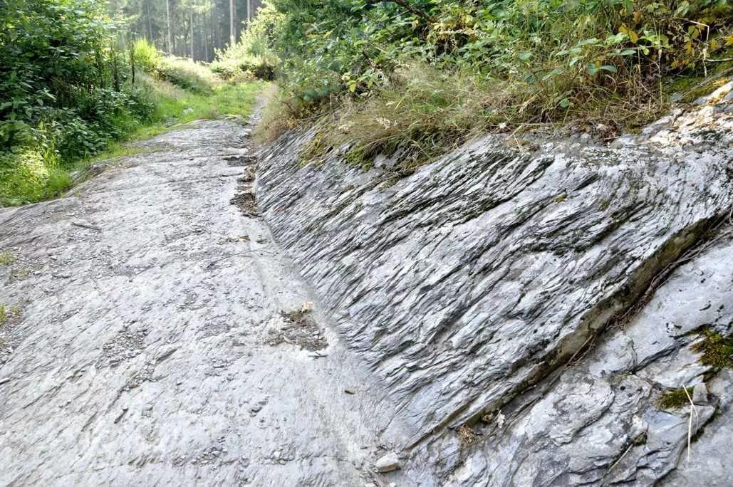 L'accès au Cheslé nous fait emprunter ce chemin forestier taillé dans le schiste.