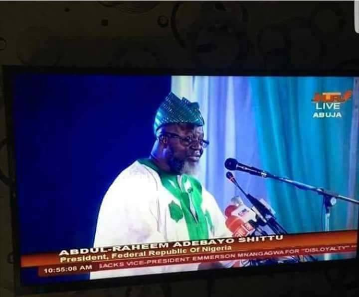 Check Out This NTAs Goof Of Tagging Adebayo Shittu As Nigerias President On TV And Twitter Users Are Having A Field Day