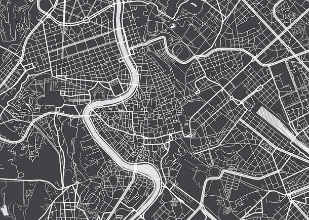 Black and white map with roadways and rivers.