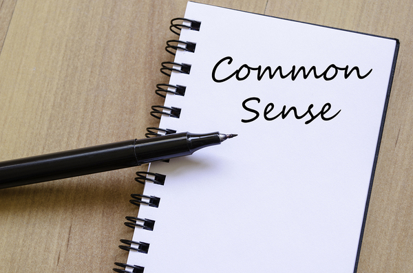 The words common sense written in a notebook.