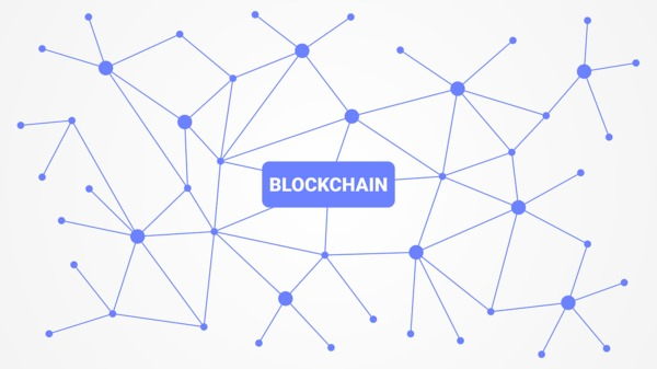 The word blockchain surrounded by linking lines.