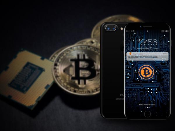 Gold bitcoin coins.