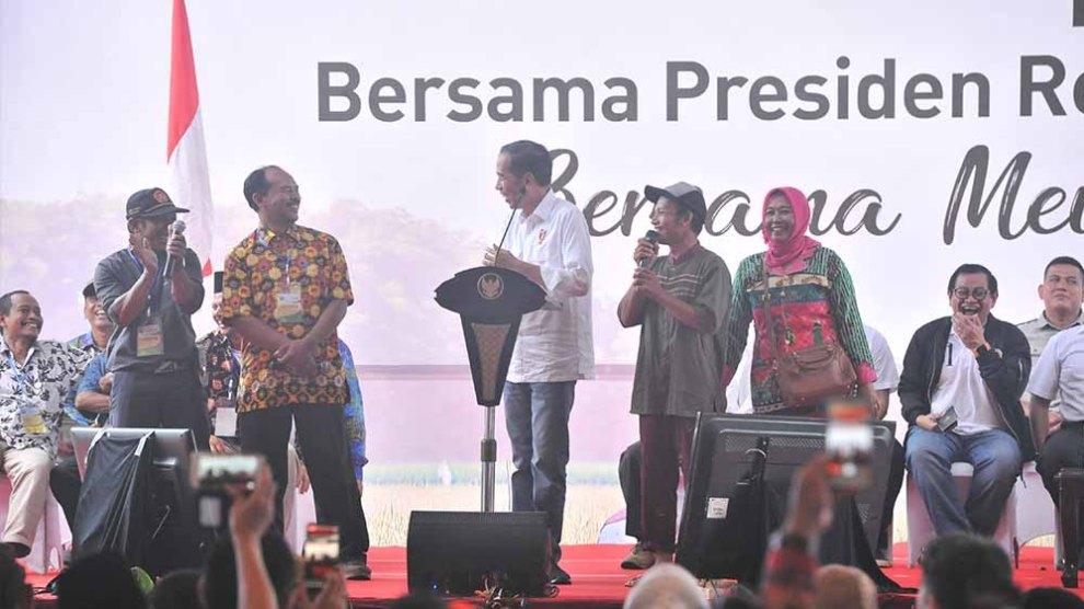 Diguyur Hujan, Presiden Jokowi Temui Petani Lampung
