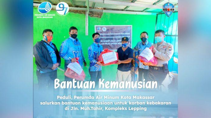 PDAM Makassar Salurkan Bantuan Kemanusiaan Korban Kebakaran di Lepping