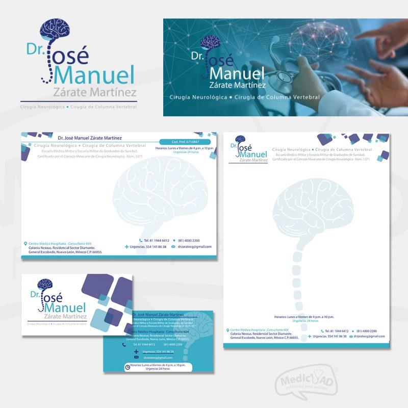 logo y papelería para Dr Jose Manuel Zarate Cirugía Neurológica y Cirugía de Columna