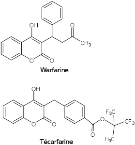 Formule chimique Warfarine Técarfarine
