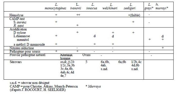 TABLE 1: differential characters of the genus Listeria and L. grayi AND L. murrayi
