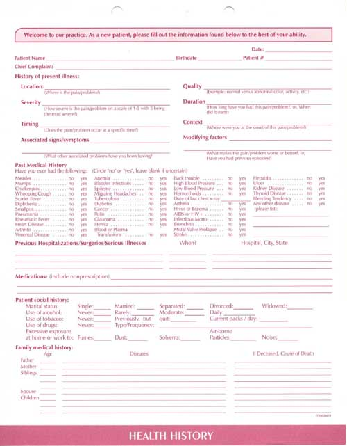 printable medical history forms templates